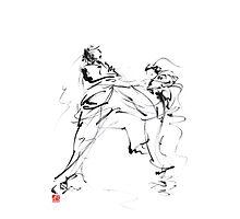 Karate martial arts kyokushinkai japanese kick oyama ko knock out japan ink sumi-e Photographic Print