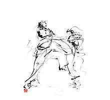 Karate martial arts kyokushinkai japanese kick oyama ko knock out japan ink sumi-e Photographic Print