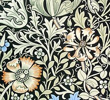 William Morris Floral Paper Pink Blue White by Pixelchicken
