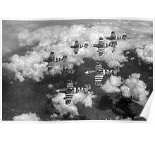 D-Day Mustangs black and white version Poster