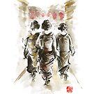 Geisha Japanese woman women in kimono walking on street run rain project design original Japan painting art by Mariusz Szmerdt