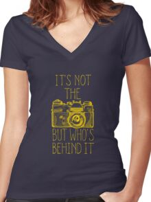 Camera yellow ink Women's Fitted V-Neck T-Shirt