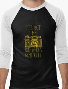 Camera yellow ink Men's Baseball ¾ T-Shirt