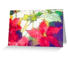 Mixed Color Poinsettias 2 Serene Greeting Card