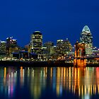 Cincinnati skyline at twilight by woodnimages