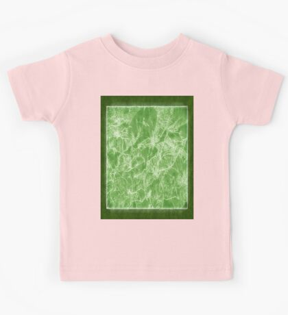 Mixed color Poinsettias 3 Outlined Green Kids Tee