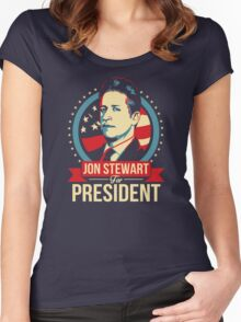 Jon Stewart for President  Women's Fitted Scoop T-Shirt