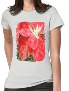 Mottled Red Poinsettia 1 Ephemeral Angelic Womens Fitted T-Shirt