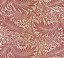 William Morris Floral Paper Burgundy and White by Pixelchicken
