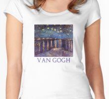 Starry Night Over the Rhone by Vincent Van Gogh Women's Fitted Scoop T-Shirt