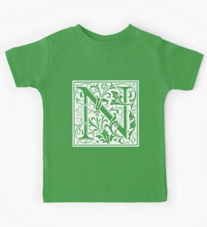 William Morris Renaissance Style Cloister Alphabet Letter N Kids Tee