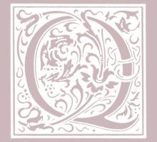 William Morris Renaissance Style Cloister Alphabet Letter Q by Pixelchicken