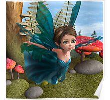 Flying Little Fairy Butterfly Poster