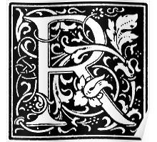 William Morris Renaissance Style Cloister Alphabet Letter R Poster