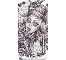 Spider Lady art print (greyscale) iPhone Case/Skin