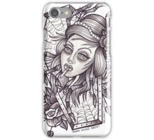 Spider Lady art print (greyscale) iPhone Case/Skin