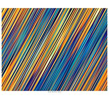 Color and Form Abstract - Striped Line Rain of Yellows and Blues Photographic Print