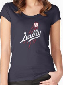 Vin Scully - Los Angeles Dodgers Style Logo Women's Fitted Scoop T-Shirt