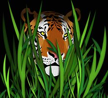Tiger head in the grass illustration by creativedesignz