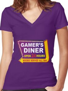 Gamers Diner Women's Fitted V-Neck T-Shirt