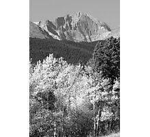 Longs Peak Autumn Scenic BW View Photographic Print