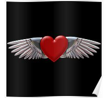 Heart with chromed wings illustration Poster