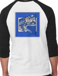 blue boy runnin' (square) Men's Baseball ¾ T-Shirt