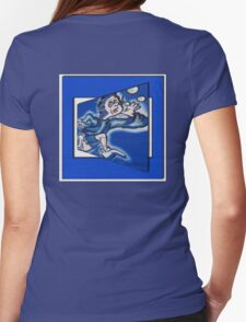 blue boy runnin' (square) Womens Fitted T-Shirt