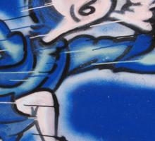 blue boy runnin' (square) Sticker