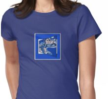 blue boy runnin' (square) (front) Womens Fitted T-Shirt