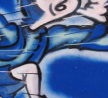 blue boy runnin' (square) (front) Sticker
