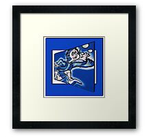 blue boy runnin' (square) (front) Framed Print