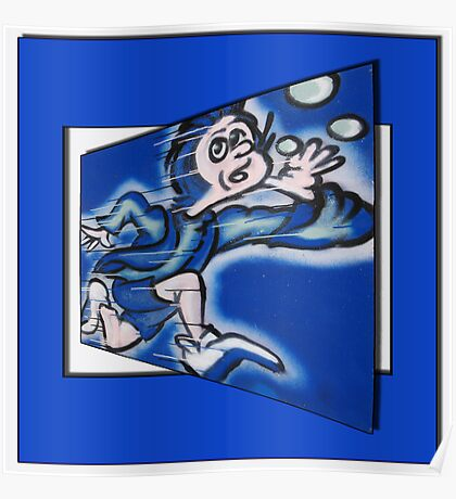 blue boy runnin' (square) (front) Poster