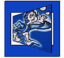 blue boy runnin' (square) (front) Photographic Print