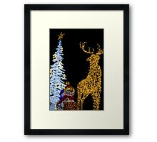 Deer with Snowman and Christmas Tree Decoration Lights Framed Print