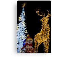 Deer with Snowman and Christmas Tree Decoration Lights Canvas Print