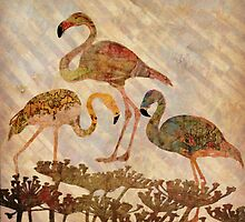 Three Flamingos by ArtByRuta