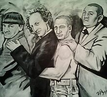 3 Stooges and Putin in a Conga Line by ZanniHB