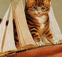 Cute victorian kitten, wooden toy boat Sticker
