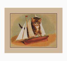 Cute victorian kitten, wooden toy boat Baby Tee