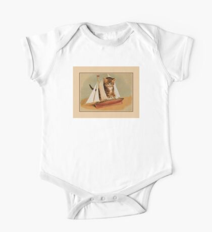 Cute victorian kitten, wooden toy boat One Piece - Short Sleeve
