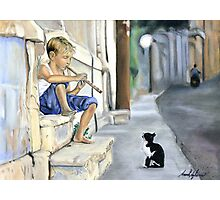Boy playing flute for cat Photographic Print
