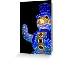 Blue Snowman Decoration Lights Greeting Card