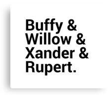 Buffy The Vampire Slayer Character Names (1) Canvas Print