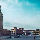 Cathedral facing square with civic buildings Montagnana walled town Italy 198404180004  by Fred Mitchell