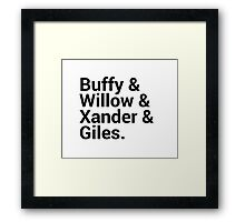 Buffy The Vampire Slayer Character Names Framed Print