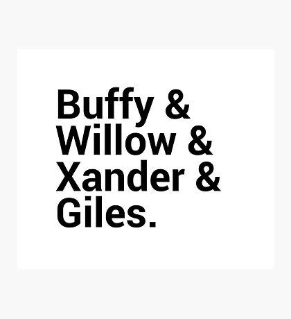 Buffy The Vampire Slayer Character Names Photographic Print