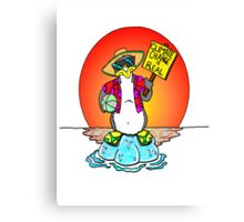Global Warming Penguin Canvas Print
