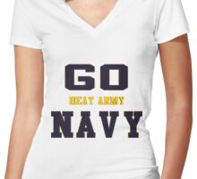Go Navy, Beat Army!! Women's Fitted V-Neck T-Shirt