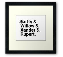 Buffy The Vampire Slayer Names  Framed Print